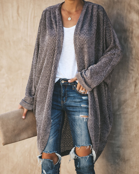 Holiday Spirit Chenille Pocketed Dolman Cardigan - Greystone