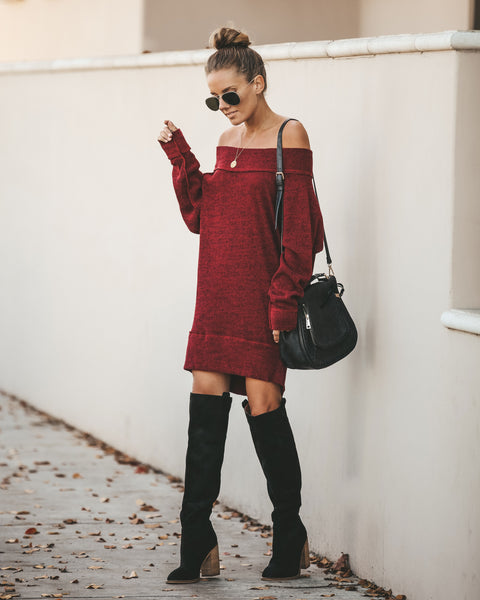 Honest To Goodness Off The Shoulder Sweater Dress - Burgundy