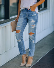 Chrissy High Rise Distressed Boyfriend Denim