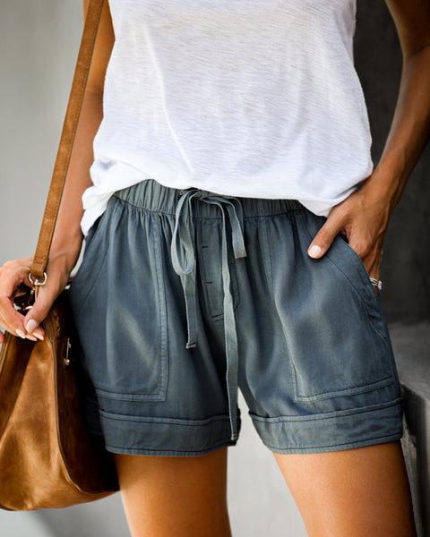 Strive Pocketed Tencel Shorts - Indigo Navy