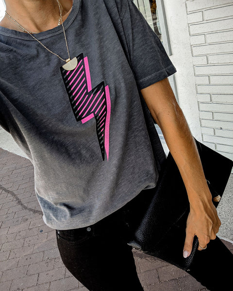 Pink Lightning Bolt Cotton Tee - FINAL SALE
