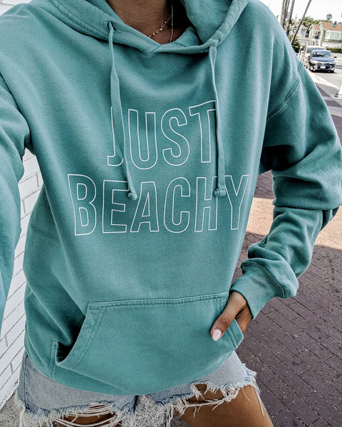Just Beachy Cotton Blend Pocketed Hoodie