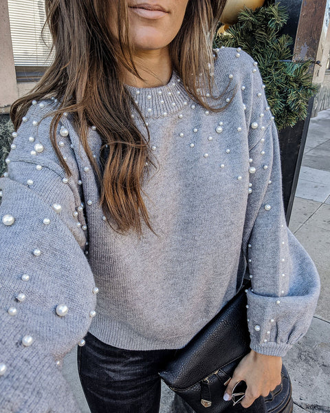 Claudette Pearl Embellished Knit Sweater