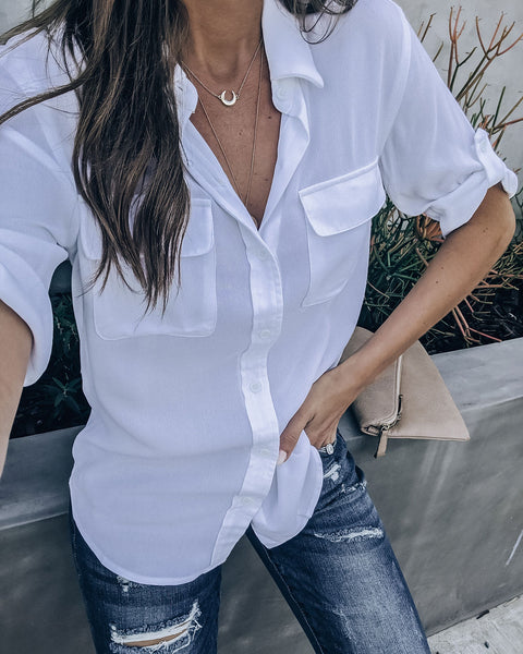 Everglade Pocketed Button Down Top - White  - FINAL SALE