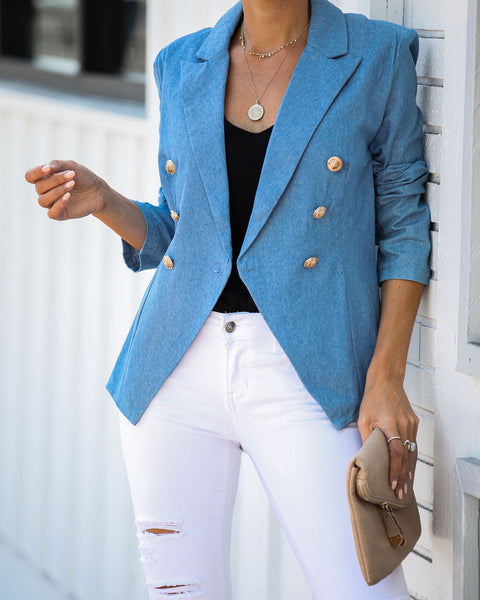 Martha's Vineyard Double Breasted Chambray Blazer - FINAL SALE