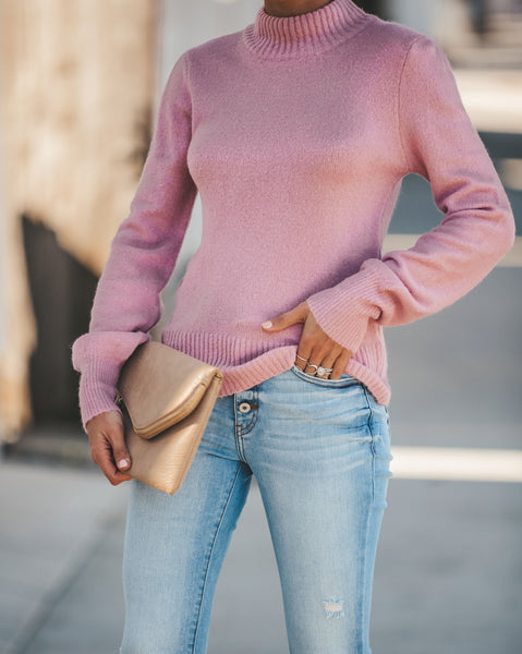 Cozy On Up Mock Neck Sweater - Pink - FINAL SALE