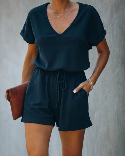 Summer's End Pocketed Knit Romper - Black