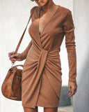 Gabriella Ribbed Twist Dress - Camel