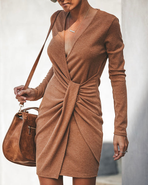 PREORDER - Gabriella Ribbed Twist Dress - Camel