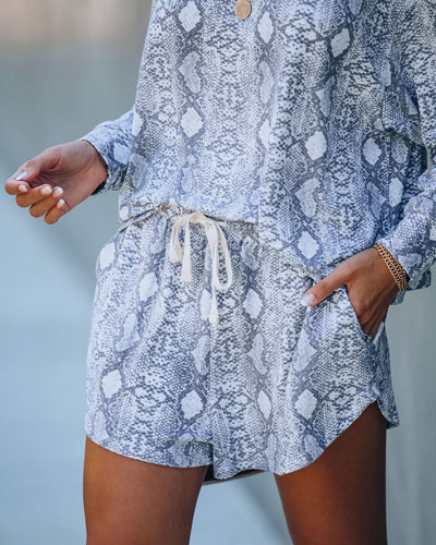 Sssnuggle Pocketed Snake Print Knit Shorts - FINAL SALE