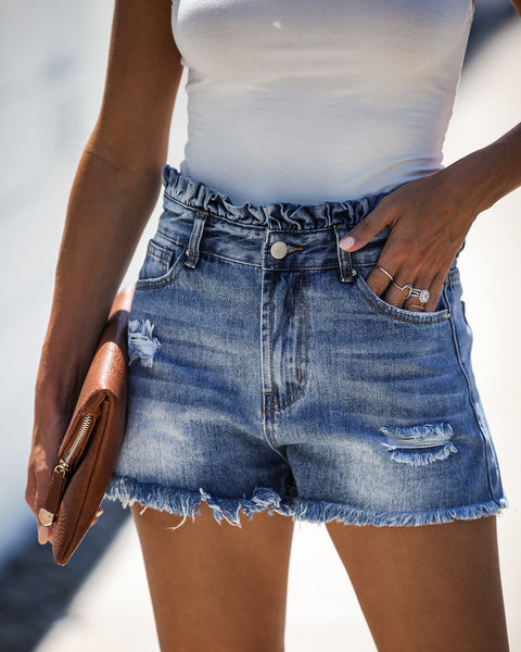 Kendall High Rise Ruffle Waist Denim Shorts - FINAL SALE