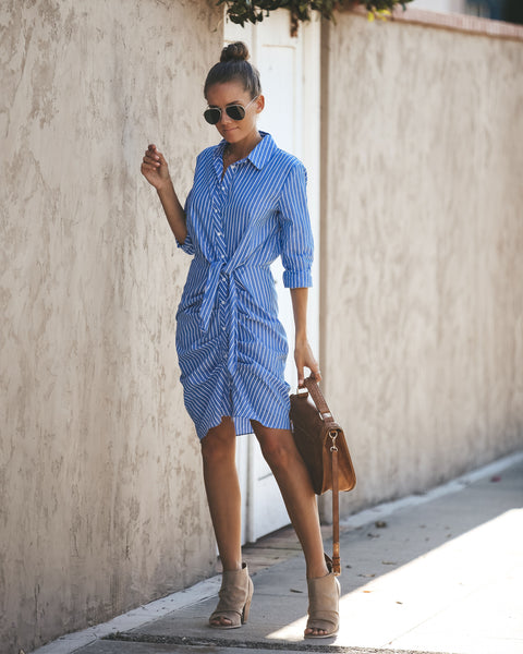Back In Business Cotton Button Down Tie Dress