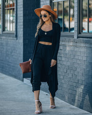 Sweet Release Ribbed Knit Duster - Black