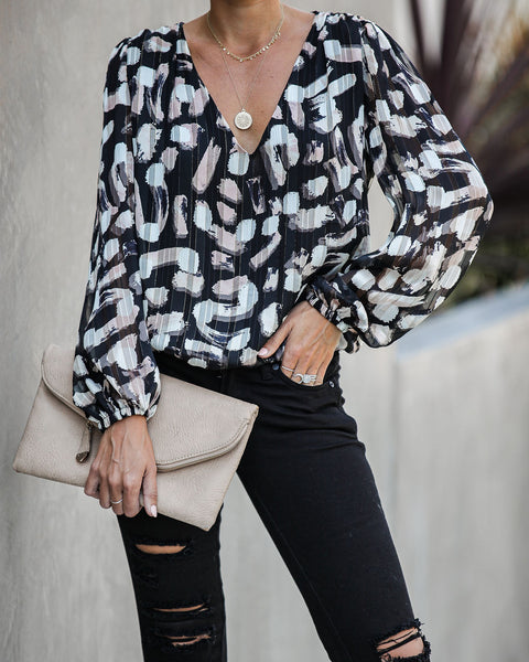 Nouveau Printed Shimmer Blouse - FINAL SALE