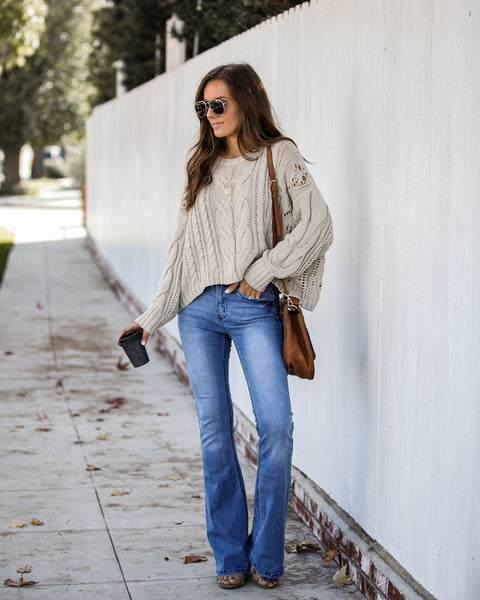 Anastasia Cotton Blend Cable Knit Sweater - Sand - FINAL SALE