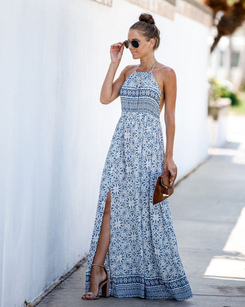 Cruise Along Halter Slit Maxi Dress