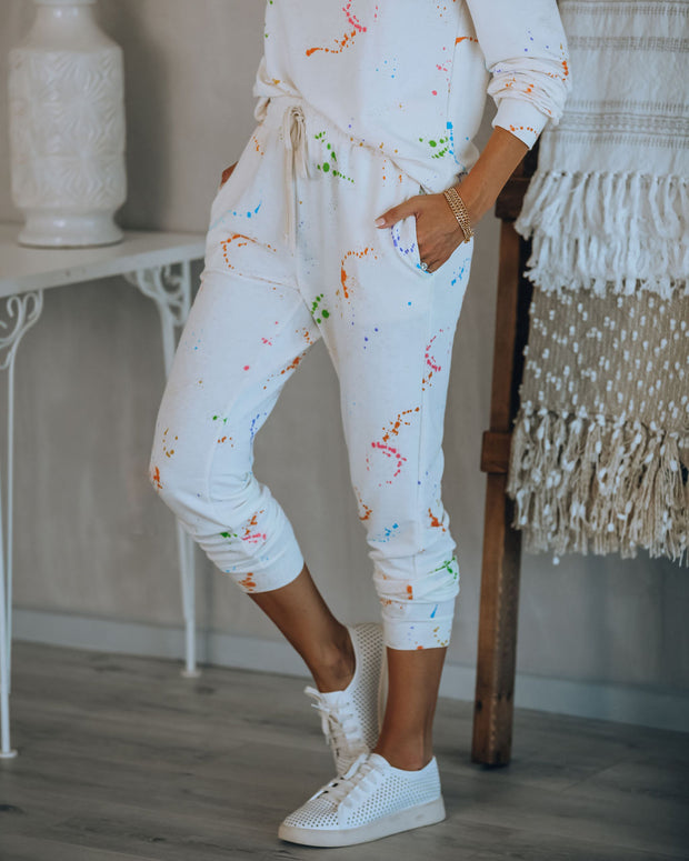 Creative Type Pocketed Paint Splatter Knit Joggers  - FINAL SALE