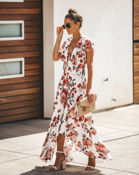 Korakia Floral Ruffle Wrap Dress
