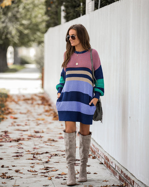 Sunshine On A Cloudy Day Pocketed Sweater Dress