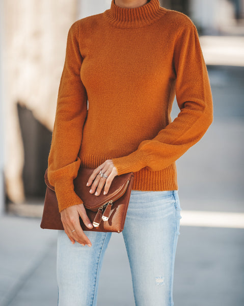 Cozy On Up Mock Neck Sweater - Mustard - FINAL SALE