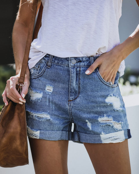 Worn Through Distressed Cuffed Denim Shorts