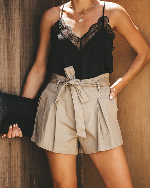 Uniform Cotton Pocketed Paper Bag Waist Tie Shorts - Khaki - FINAL SALE