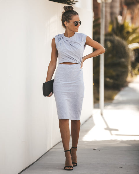Here Comes Trouble Cotton Cutout Midi Dress - Heather Grey - FINAL SALE
