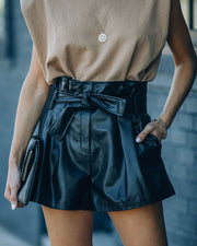 Can't Resist Pocketed Faux Leather Shorts
