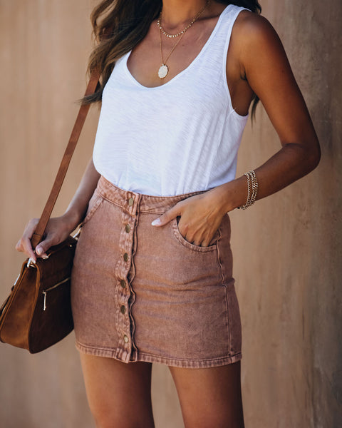 Orla Button Front Denim Mini Skirt - Clay
