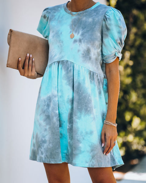 Lachlan Cotton Tie Dye Puff Sleeve Dress