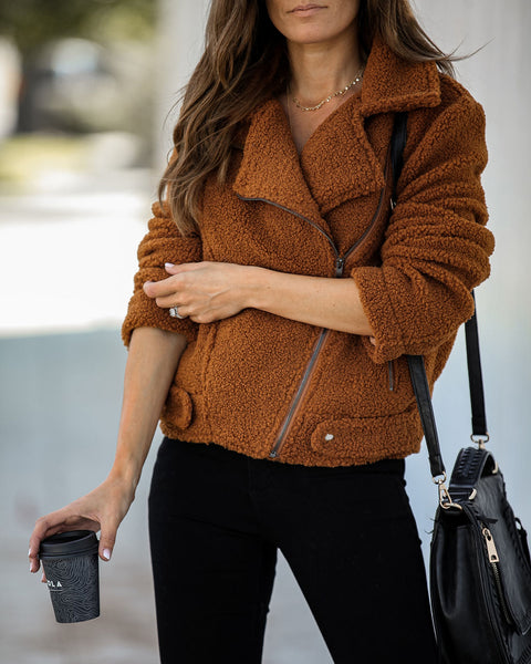 Verity Pocketed Sherpa Moto Jacket - Camel - FINAL SALE