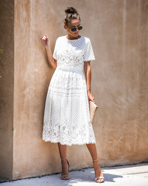 Finespun Crochet Lace Pocketed Midi Dress