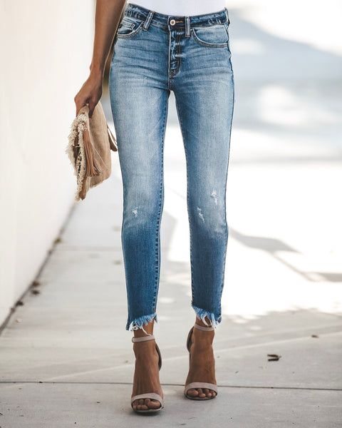Logan Distressed Frayed Ankle Skinny