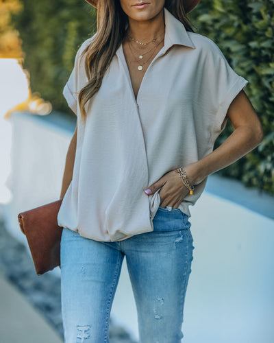 Kiana Collared Surplice Blouse - Taupe