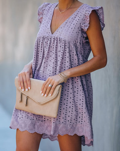 Angel Babe Cotton Eyelet Pocketed Dress - Lavender - FINAL SALE