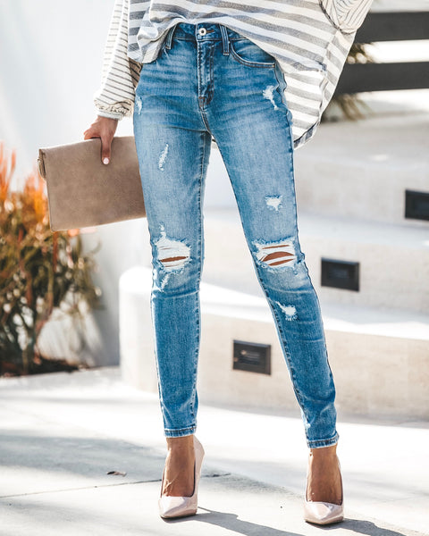 Lillian High Rise Distressed Skinny