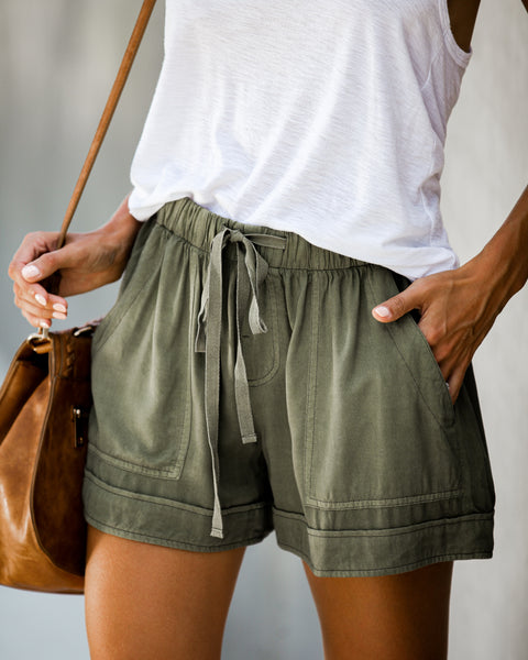 Strive Pocketed Tencel Shorts - Olive