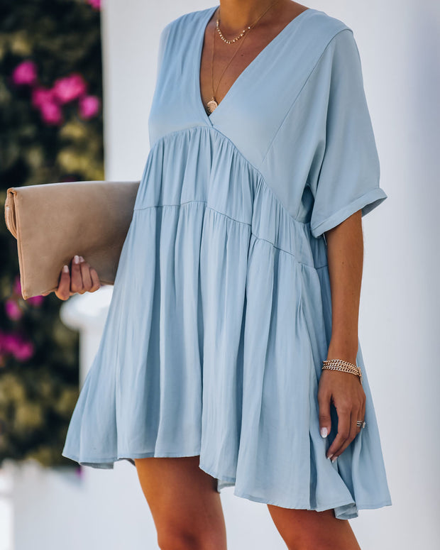 Giddy Pocketed Babydoll Dress - Cloudy Blue