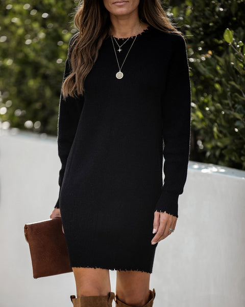 Chasing A Dream Distressed Sweater Dress - Black