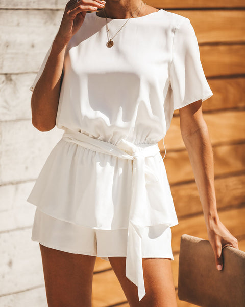 For Keeps Tie Romper - Off White