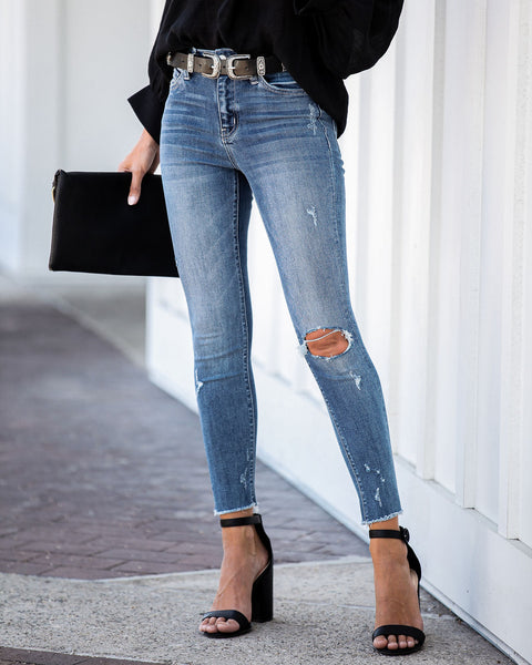 One For All Mid Rise Frayed Ankle Skinny - FINAL SALE