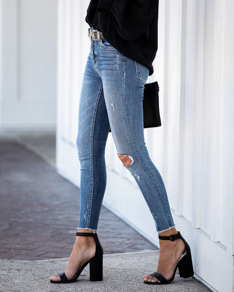 One For All Mid Rise Frayed Ankle Skinny