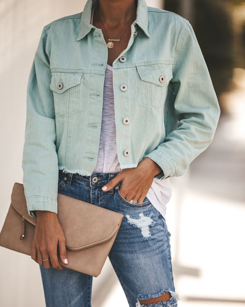 Spring Fresh Frayed Cotton Jacket - Mint - FINAL SALE