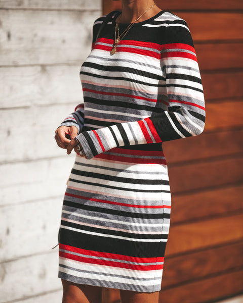 Cher Striped Ribbed Bodycon Dress