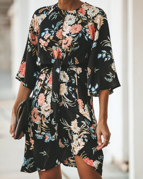 Esperanza Floral Tie Dress - Black