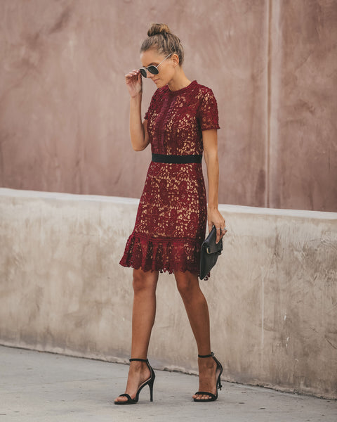 Best Time Of Year Crochet Lace Dress - Wine - FINAL SALE