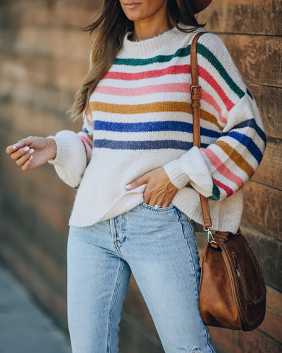 Funky Town Striped Relaxed Knit Sweater - FINAL SALE