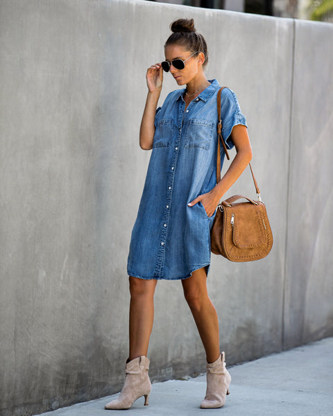 Angelica Tencel Pocketed Button Down Dress