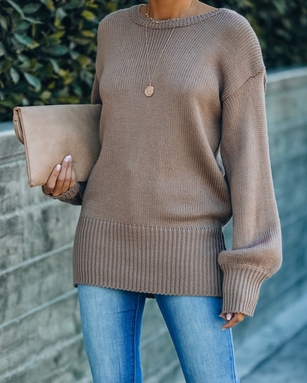 Loose Ends Tie Sweater - Mocha - FINAL SALE view 2