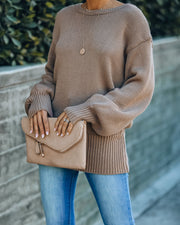Loose Ends Tie Sweater - Mocha - FINAL SALE view 8